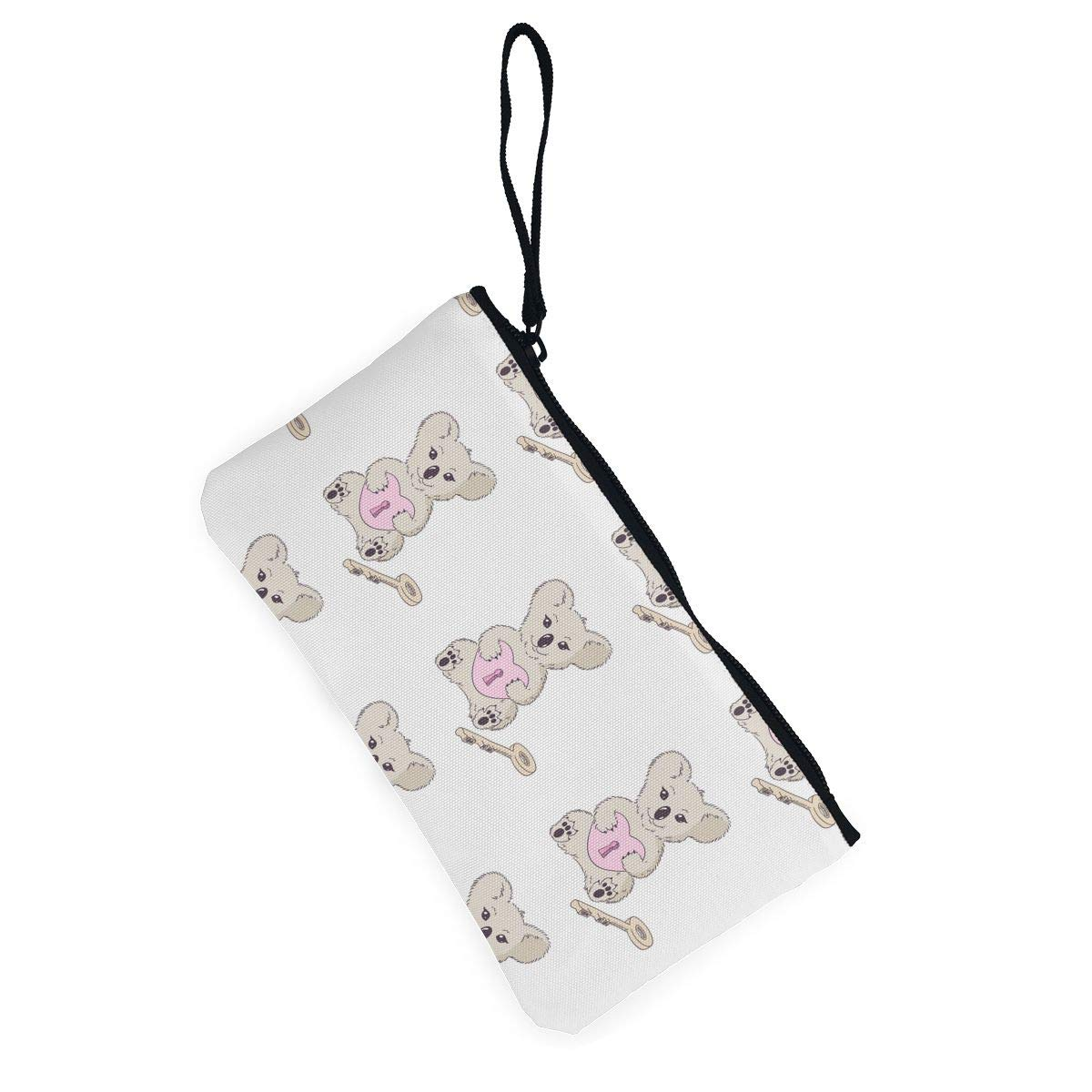 Koala with Heart Pattern Canvas Coin Purse Cute Change Pouch Wallet Bag Multifunctional Cellphone Bag with Handle