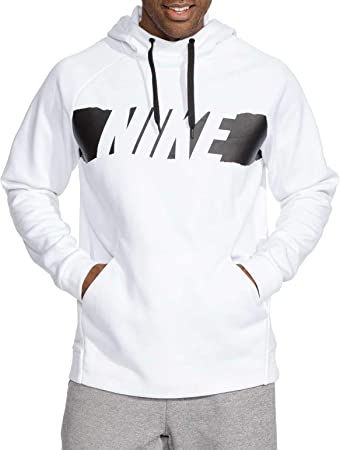 NIKE Men\u0027s Therma Graphic Training Hoodie (White/Black, Large)