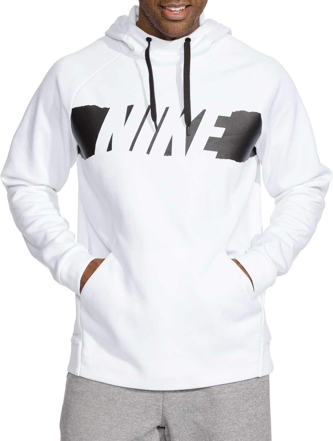 NIKE Men's Therma Graphic Training Hoodie (White/Black, Large)