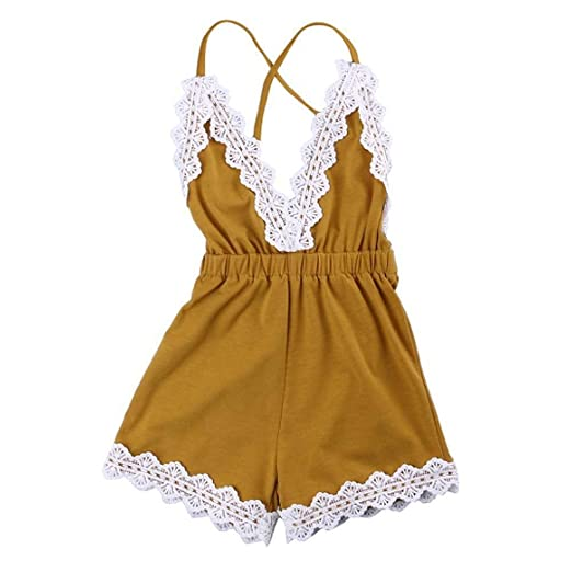 ed560ad8dd78 Image Unavailable. Image not available for. Color  MiyaSudy Newborn Baby  Girls Halter Romper Lace Jumpsuit Summer Clothes Outfits