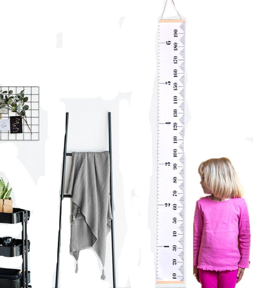 Motishi Baby Height Growth Chart Hanging Rulers Canvas Removable Measurement Chart with Wood Frame for Kids Nursery Room (79''x7.9'')