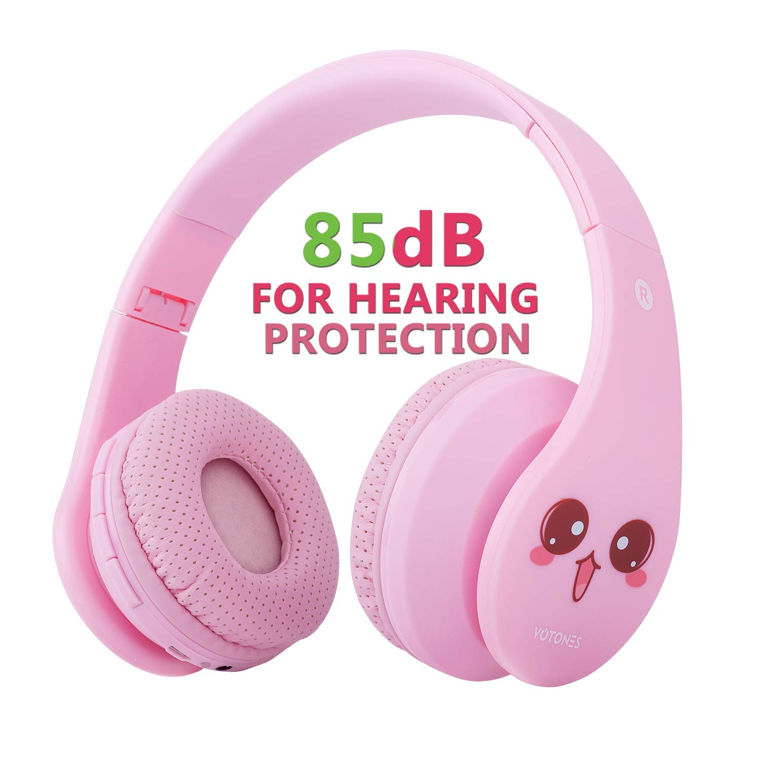 VOTONES Kids Wireless Headphones 85dB Hearing Protection Girls Bluetooth Over Ear Headphones,Foldable Stereo Sound Headset with Microphone 3.5mm Jack for Smartphone PC Tablet(Pink)