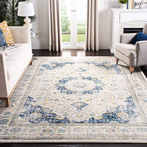 Safavieh Evoke Collection Vintage Oriental Ivory and Blue Area Rug (9' x 12') (Hardwood Floor Rugs Area Rugs Best)