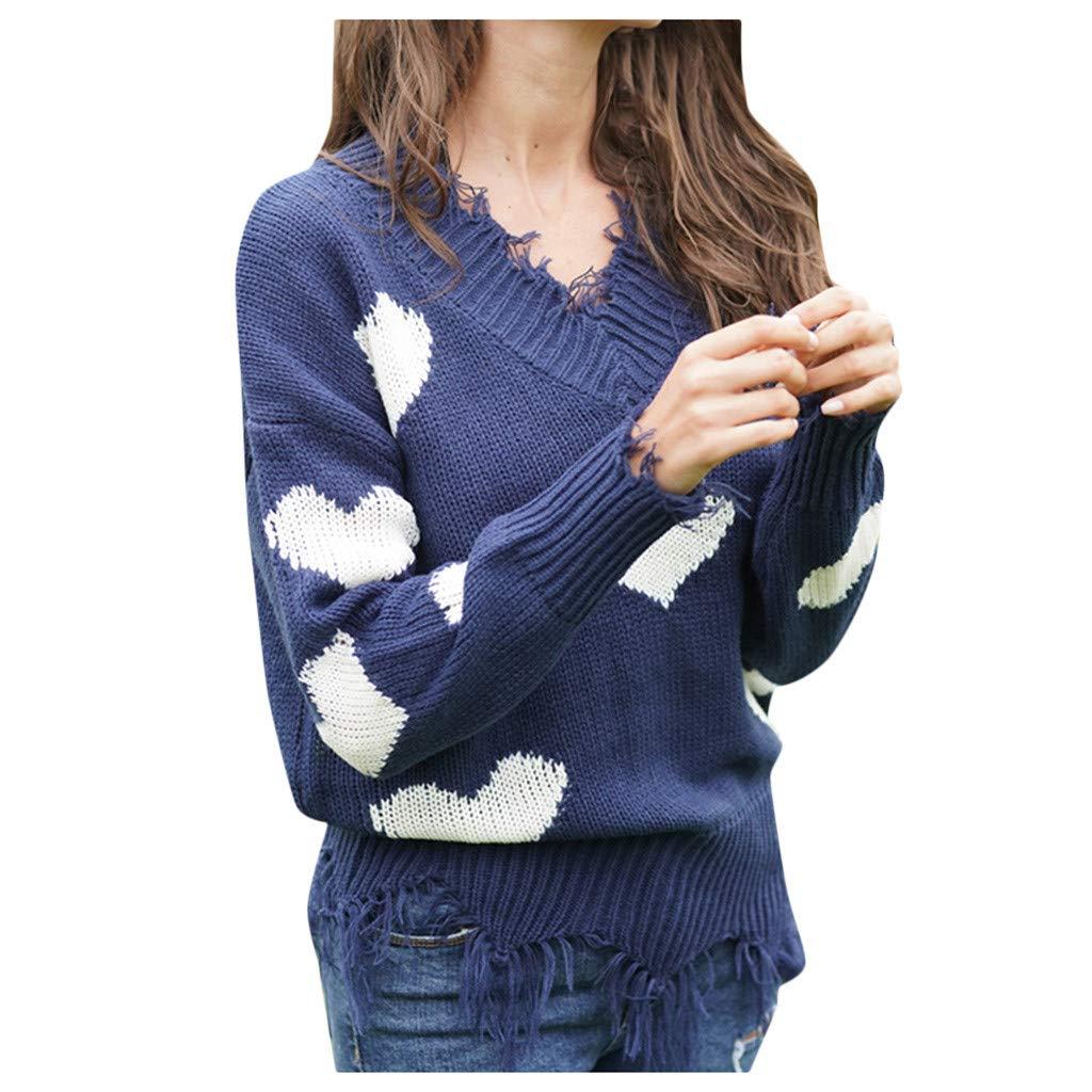 SHUSUEN Winter Sweater Women 2020 Xmas Knitted Pullover Sweater Female Print Long Sleeve Jumper Sweater Blue by SHUSUEN