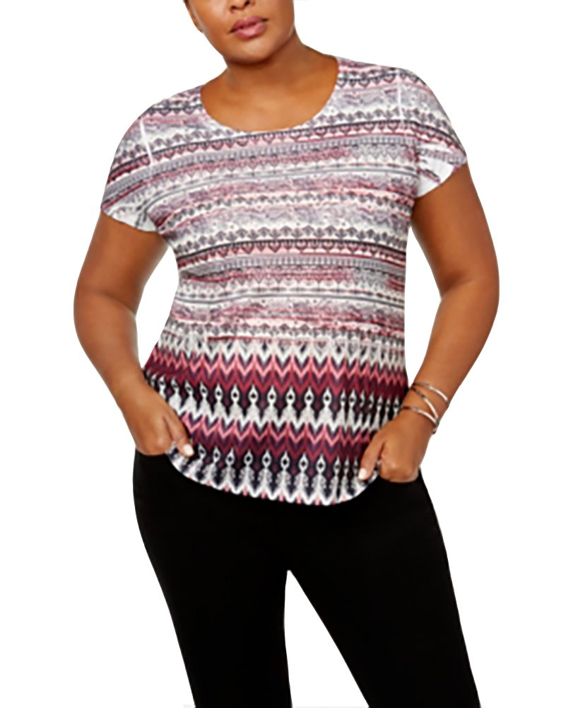 Style & Co. Plus Size Mixed-Print Embellished Top Ethnic Directio 3X