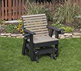 WEATHERED WOOD-POLY LUMBER ROLL BACK Poly Resin 2 FEET Patio Garden Traditional Glider with Cupholder arms Heavy Duty EVERLASTING - MADE IN USA - AMISH CRAFTED