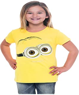 5282a557 Hybrid Despicable Me Minion Big Face Dave Girls Tart Yellow T-Shirt