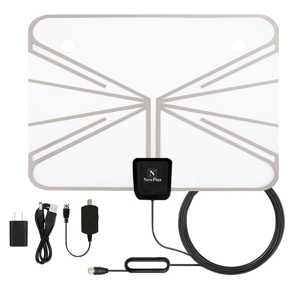 Indoor TV Antenna, NewPlus Transparent Amplified HDTV Antenna 50 Mile Range with Detachable Amplifier Signal Booster, USB PowerSupply, 16.5FT High Performance Coax Cable - Better Reception