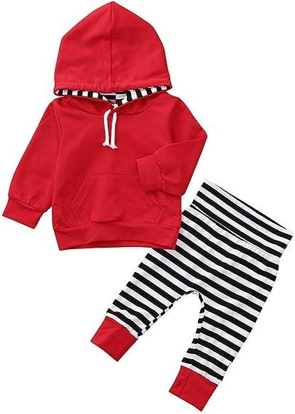 Hirolan Neugeborene Kleidung Hirolan 3 St/ück Kleinkind Baby Junge M/ädchen Kleider Set Lange H/ülse Kapuzenpullover Tops Streifen Hose Stirnband Outfits Hei/ß Rosa, 60