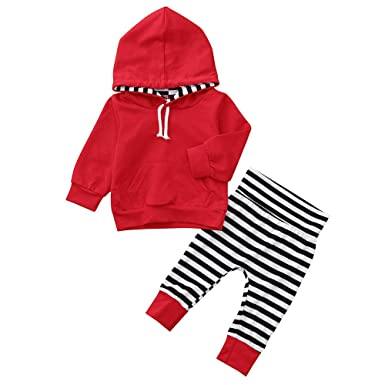 804870be4c5f Amazon.com  Infant Boys Girls Outfits Set Solid Hoodies Striped ...