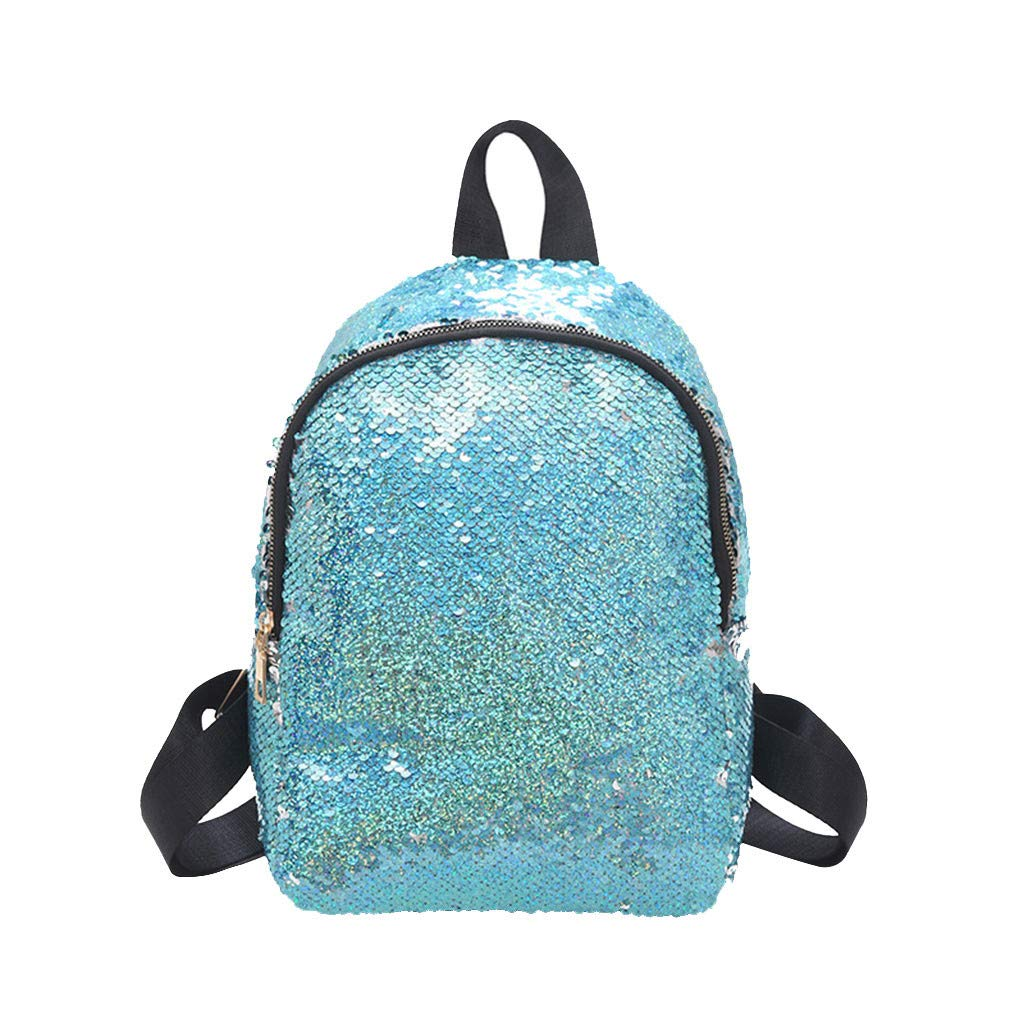 Women Sequined Backpack  Fashion Zipper Wild Double Shoulder Small Square Bag Messenger Bag for Banquet, Sports, Travel by Dacawin-Women Bags