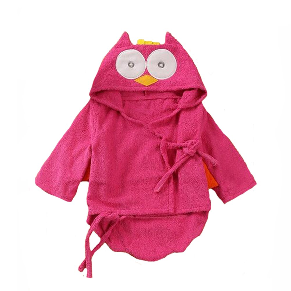 Yunsenshop Baby Girls /& Boys Hooded Animal Bathrobe Robes Bath Towel Super Soft Rose Owl