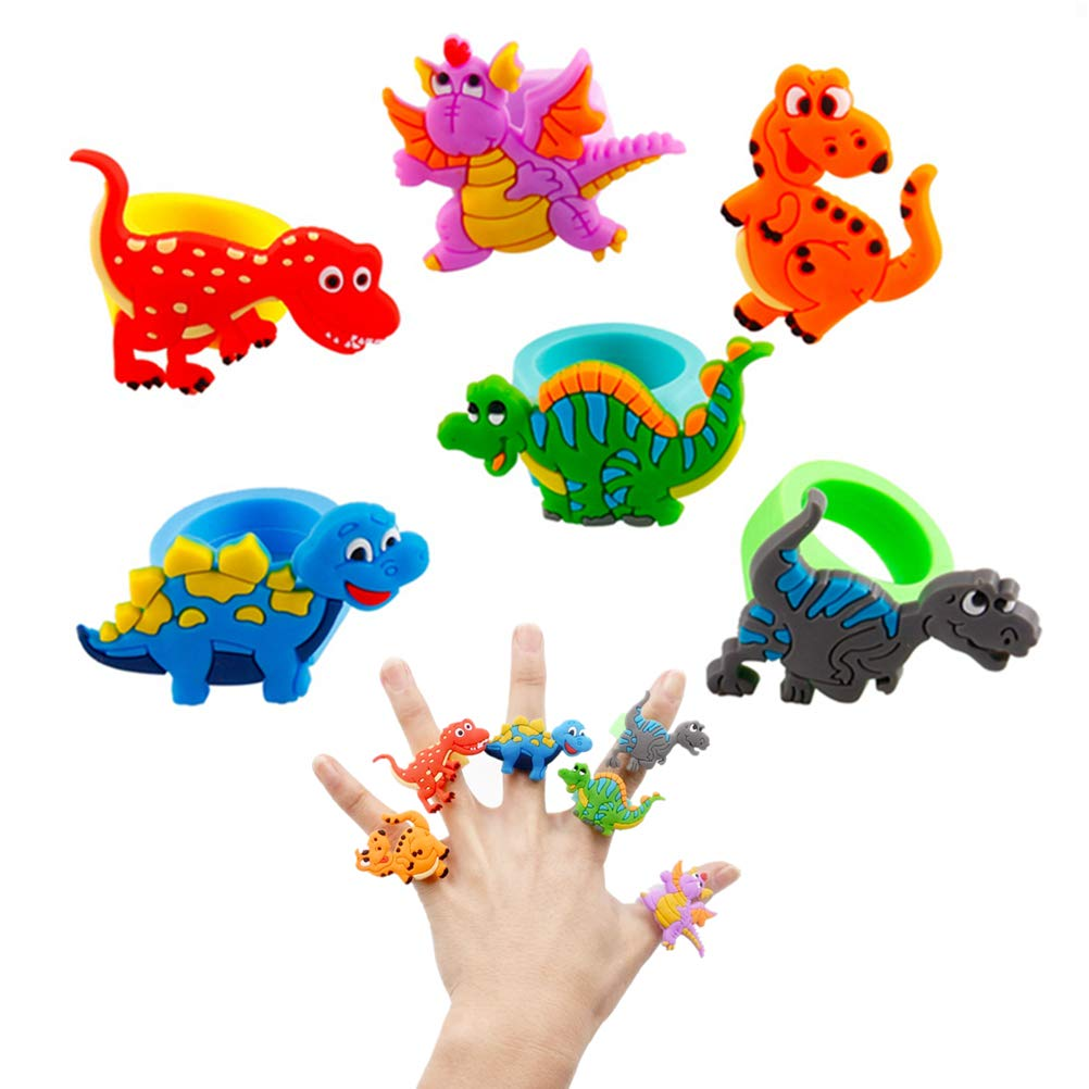 Amazon com: SUSHAFEN 6Pcs Dinosaur Rubber Ring Finger Toy