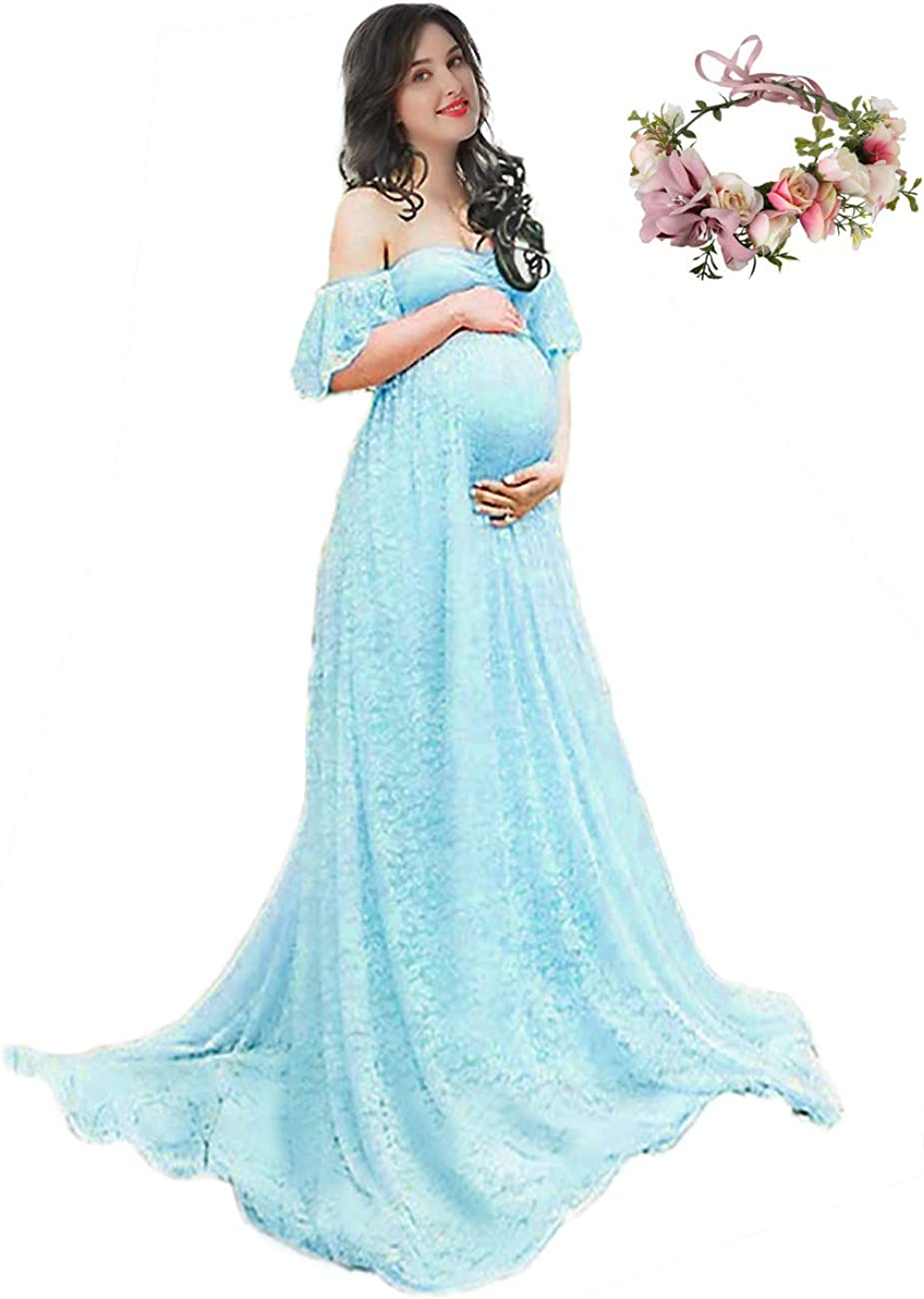 YOFEEL Womens Off Shoulder Ruffle Sleeve Lace Maternity Gown Plus Maxi Photography Dress