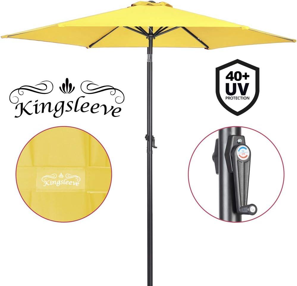 Deuba Sombrilla Amarillo con Palo Aluminio Ø 300cm con manivela protección Rayos UV 40+ Impermeable Parasol jardín Playa