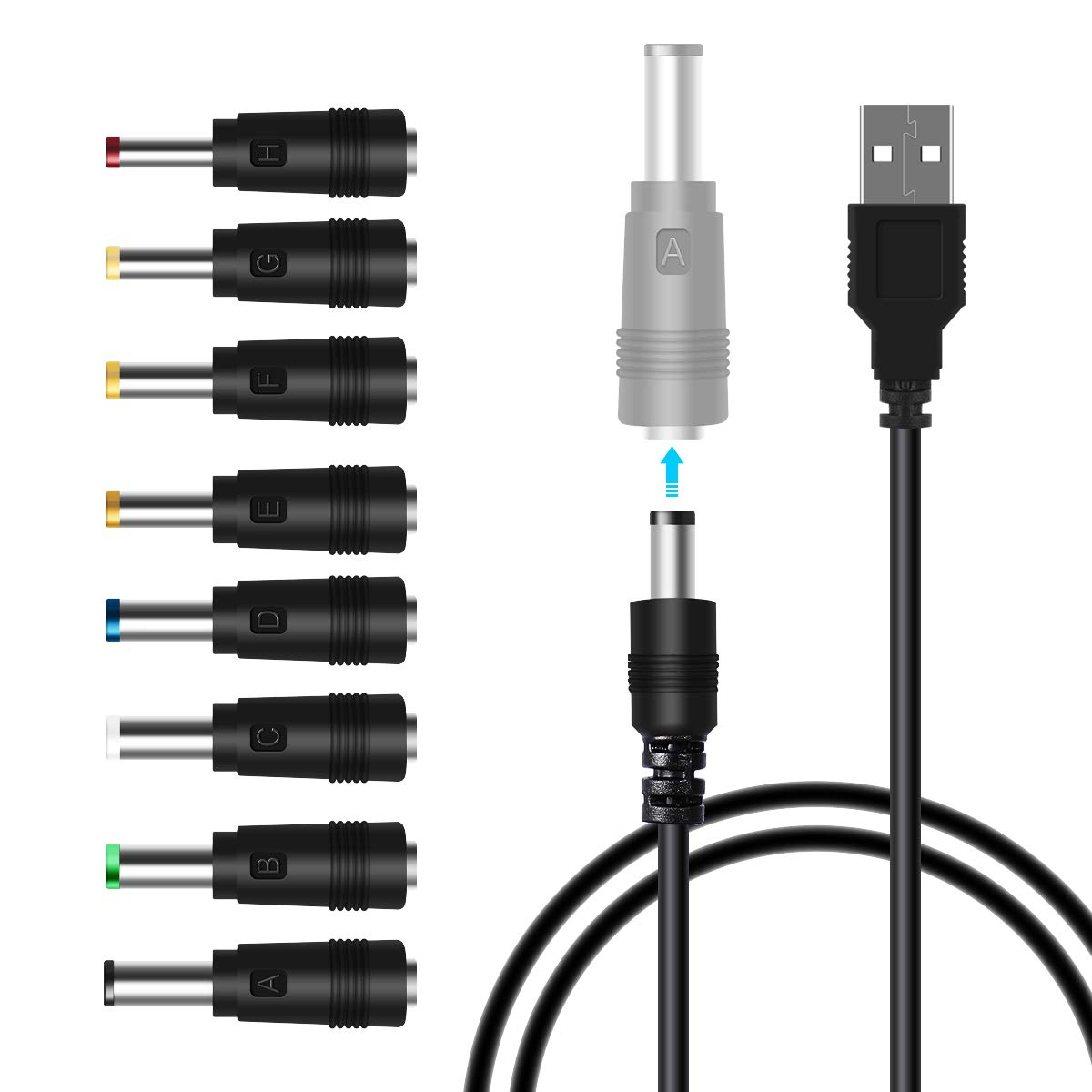 LANMU USB to DC Power Cable,8 in 1 Universal USB to DC Jack Charging Cable Power Cord with 8 Interchangeable Plugs Connectors Adapter for Router,Mini Fan,Speaker and More Electronics Devices
