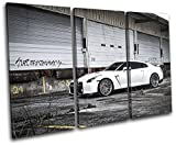 Bold Bloc Design - Nissan GT-R Import Grunge Urban Cars 120x80cm TREBLE Canvas Art Print Box Framed Picture Wall Hanging - Hand Made In The UK - Framed And Ready To Hang