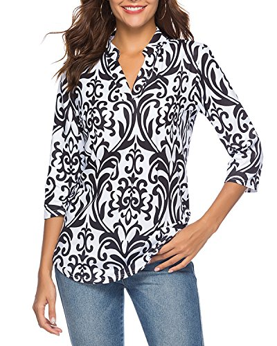 Tunic V-neck Lined - CEASIKERY Women's 3/4 Sleeve Floral V Neck Tops Casual Tunic Blouse Loose Shirt Black