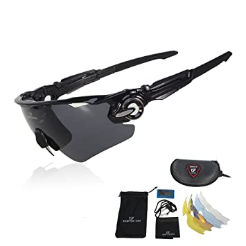 21374a87bb TOPTOTN Bike Polarized Motion Glasses Sports Sunglasses UV400 Protection Cycling  Glasses With 5 Interchangeable Lenses for