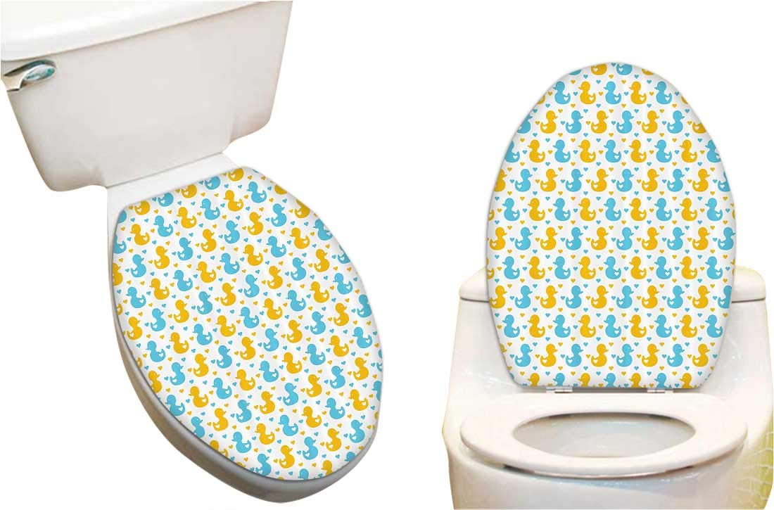 Super Amazon Com Toilet Seat Sticker Yellow Duckies With Blue Gamerscity Chair Design For Home Gamerscityorg