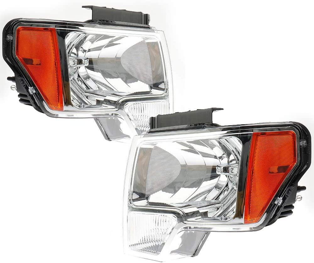 BRTEC Headlights Assembly Kit for 2009 2010 2011 2012 2013 2014 Ford F150 Passenger Side and Driver Side Chrome Housing Clear Lens Set Headlamps