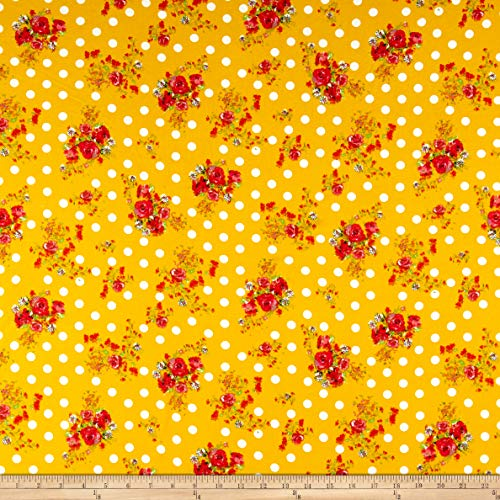 Fabric Merchants Double Brushed Poly Jersey Knit Dots and Rose Bouquet Fabric, Mustard, Fabric By The Yard ()