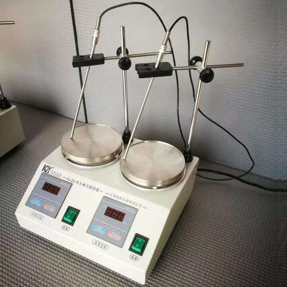 YUEWO Digital 2 Heads Magnetic Stirrer Magnetic Mixer 2400 RPM Magnetic Hotplate Mixer Lab Magnetic Agitator Stirrer Mixer with Stirring Bar