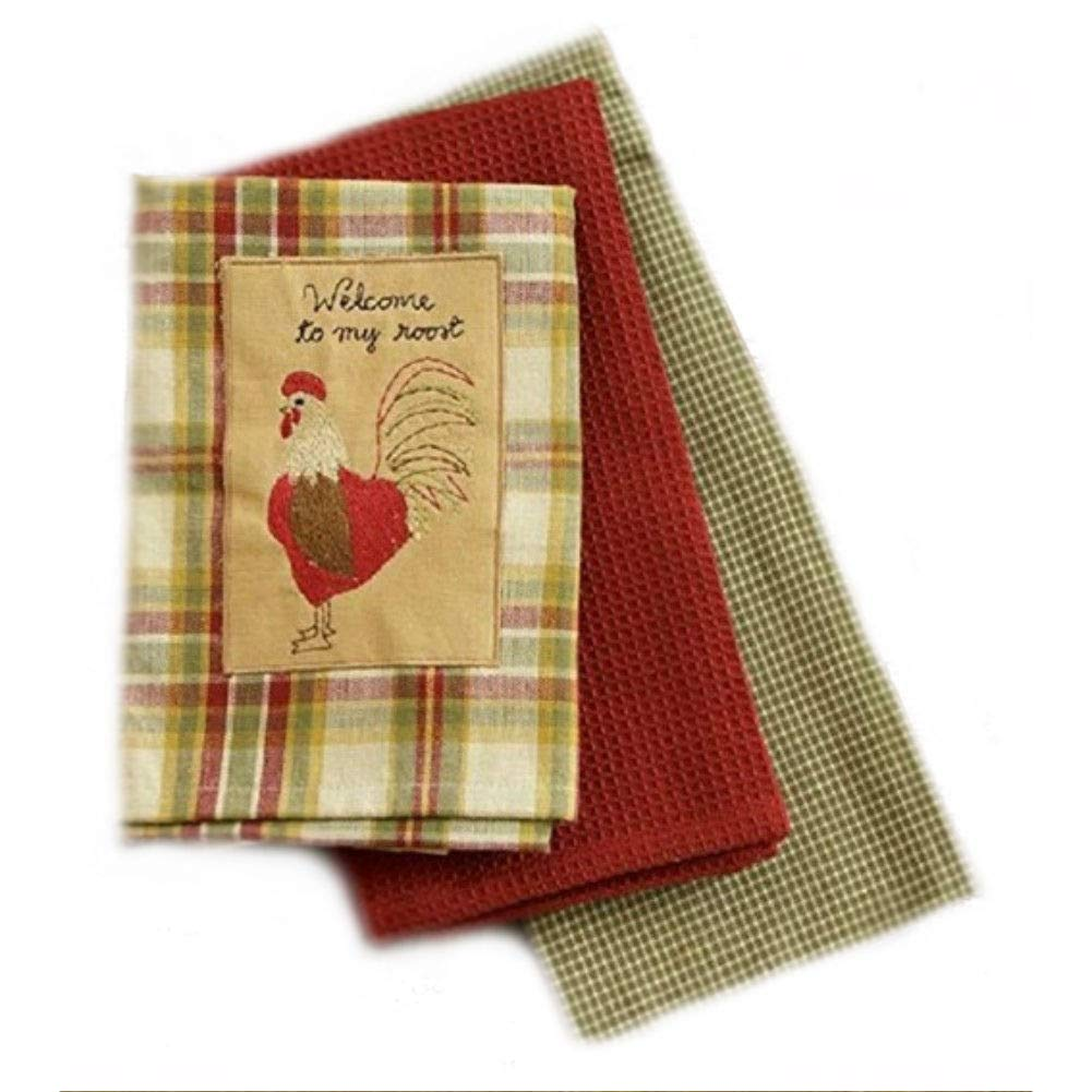 Country Primitive Welcome to My Roost Cotton Everyday Dishtowel Set of 3 Tea Towels
