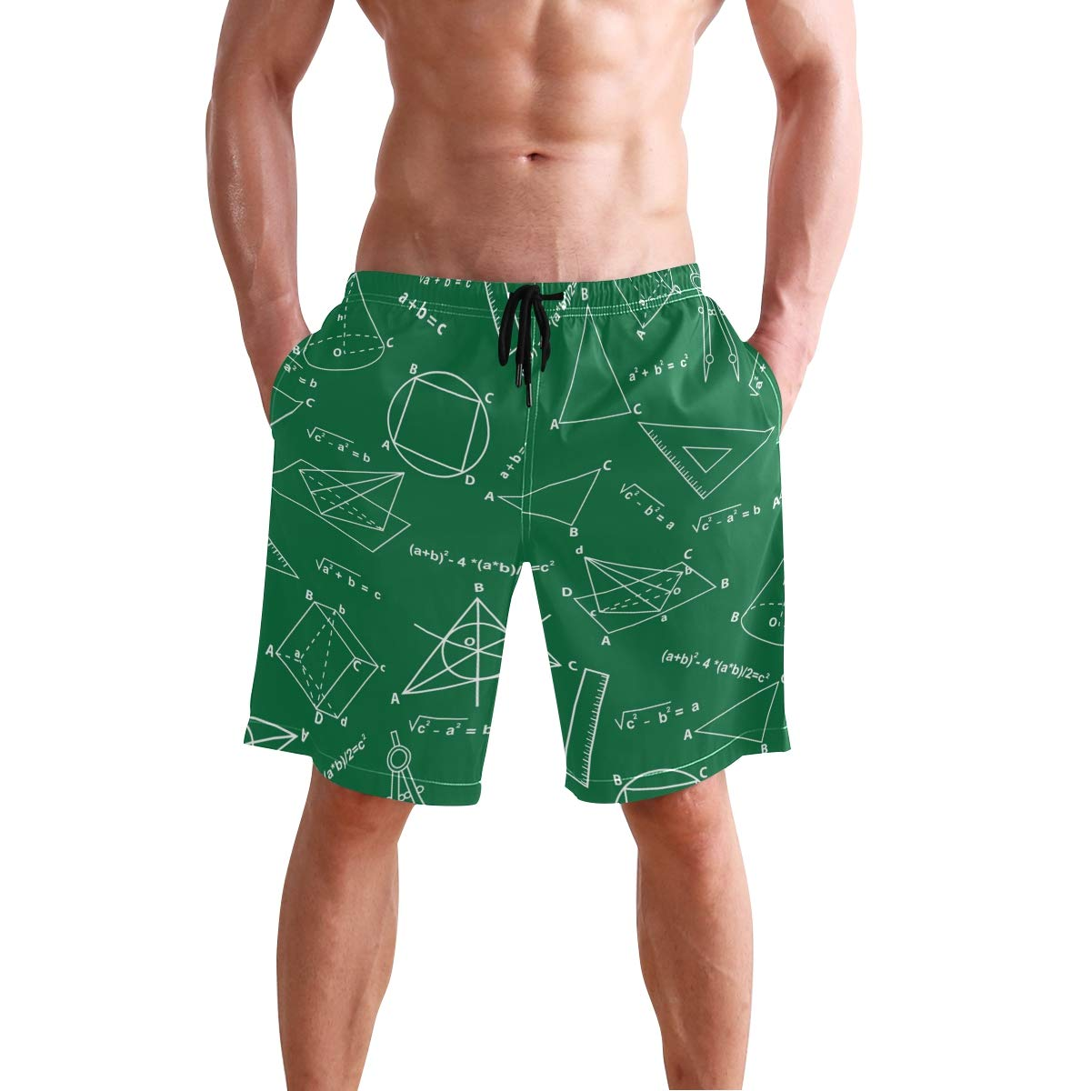 DongDongQiang Men Summer Geometry Math Quick Dry Volleyball Beach Shorts Board Shorts