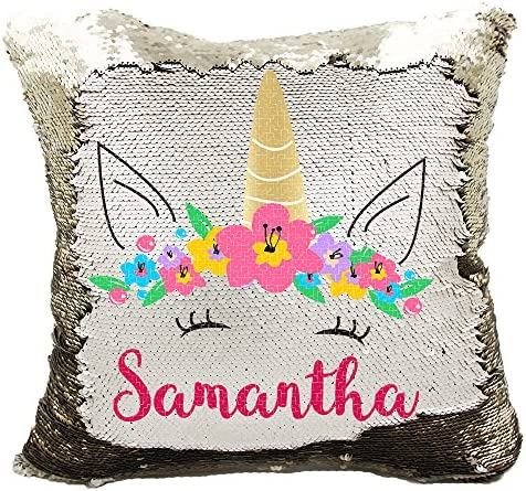 Personalized Mermaid Reversible Sequin Pillow, Custom Unicorn Sequin Pillow Champagne Gold