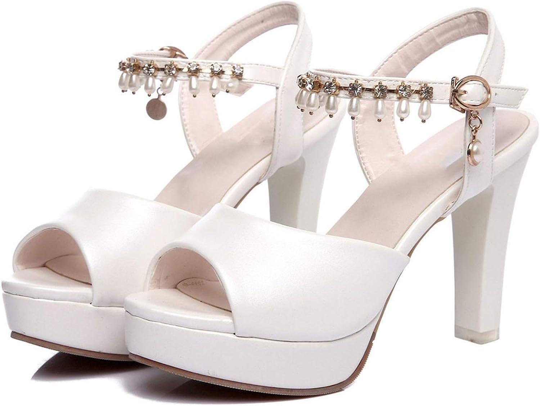 Good-memories pumps Sandals elegan peep Toe Sweet Beaded Summer Shoes Party Wedding Shoes Comfortable high Heel Shoes,White,12