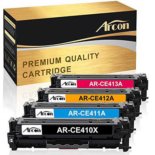 Arcon 4 Packs Compatible for HP 305A CE410A 305X CE410X CE411A CE412A CE413A Toner Cartridge for HP LaserJet Pro 400 Color M451dn Toner, MFP M451dw M451nw M475dn M475dw, Pro 300 M351a M375nw Printer