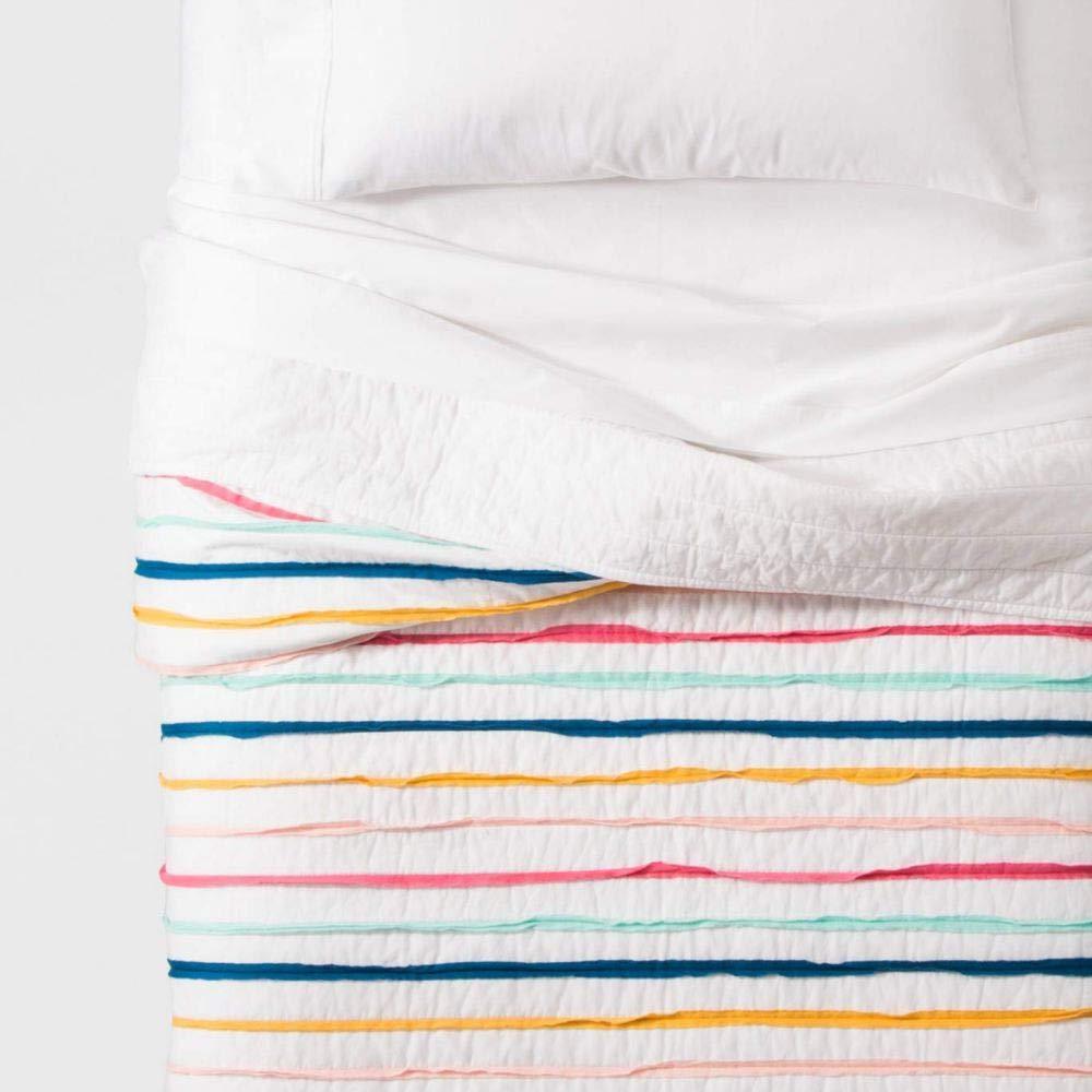 Pillowfort フリル付きストライプキルト フル/クイーン B07KPK4Q8T
