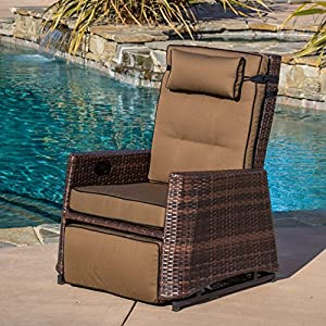 Outdoor Recliner Rocking Chair with Weather Resistant and UV Protection, Adjustable Legs and Back, 45-Degree Angle for The Utmost Relaxation - Seat, Back and Head Rest Cushions for Added Comfort