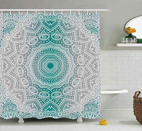Ambesonne Grey and Teal Shower Curtain, Mandala Ombre Sacred Geometry Occult Pattern with Flower Lines Display Artwork, Fabric Bathroom Decor Set with Hooks, 70 Inches, Teal Grey