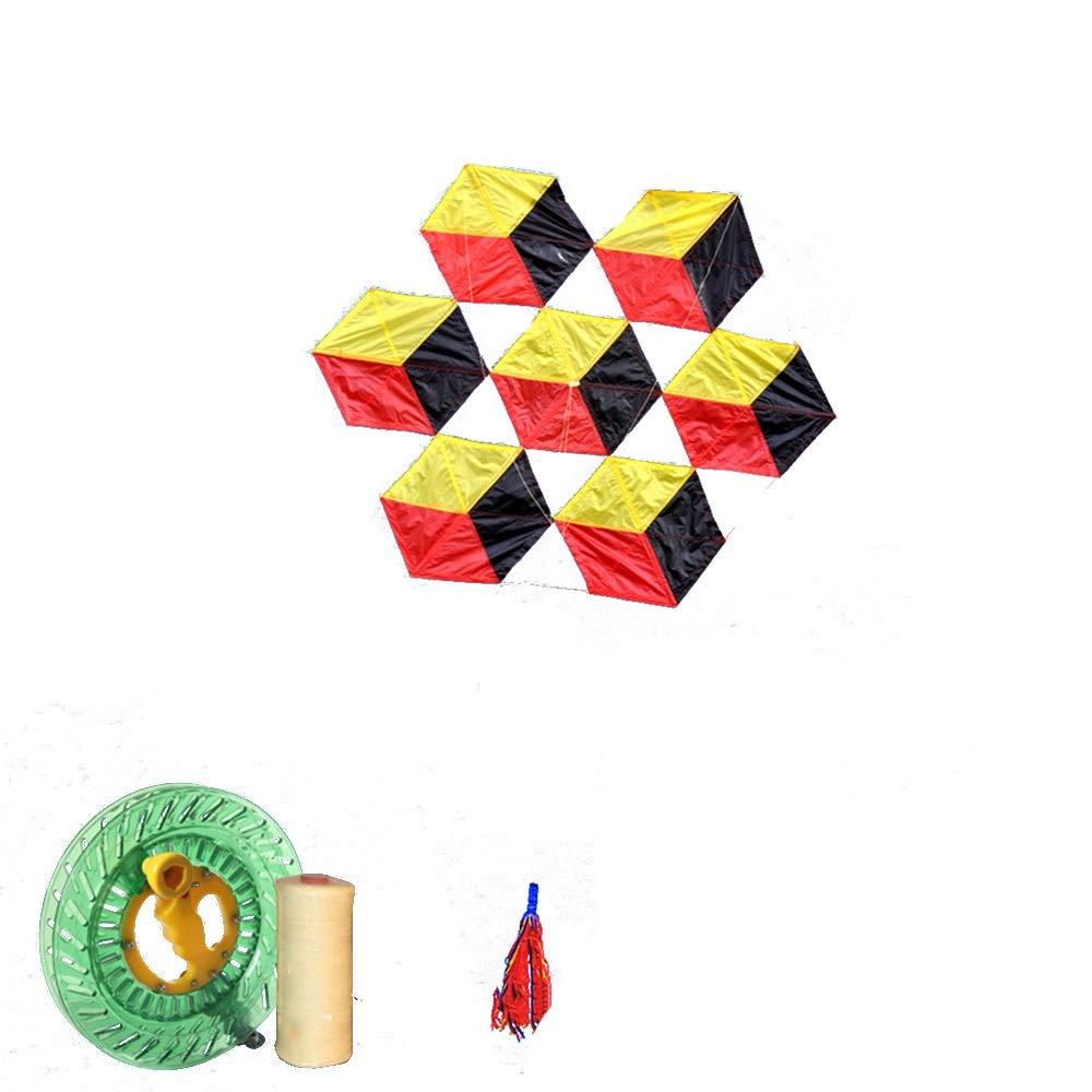 凧,アウトドア玩具 柔らかい傘布6面ルービックキューブ大きな大人の凧、飛ぶのは簡単風(リール付き) スポーツ健康の楽しみ (色 : D) B07QVPBSFW G g  G g