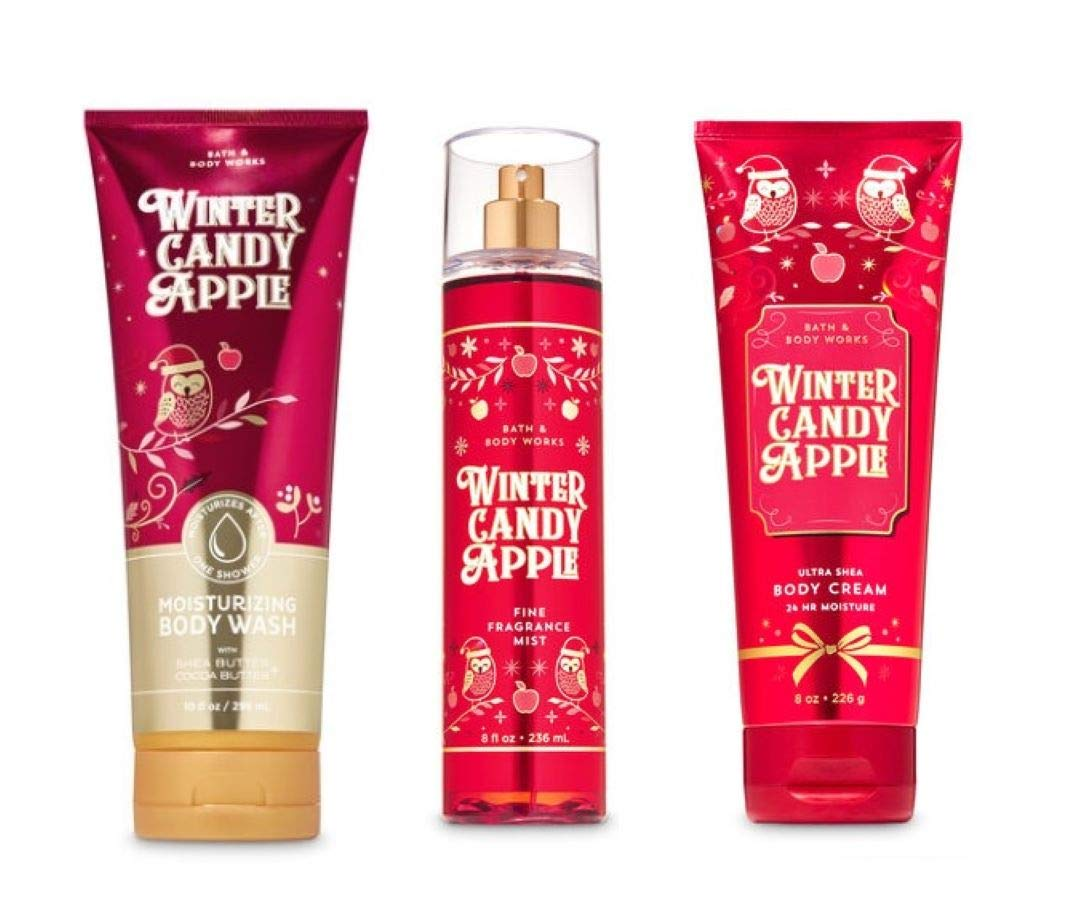 Bath and Body Works - Winter Candy Apple - 3 pc. Gift Set - Moisturizing Body Wash, Fine Fragrance Mist and Ultra Shea Body Cream - (2019 Edition)