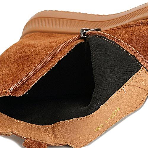 Bottes Chaussures Femmes Nouveau Épais Peluche KHSKX 35 Martin Marron Fond Cuir Jusqu'À Sous Hiver Automne Et BwUwXt