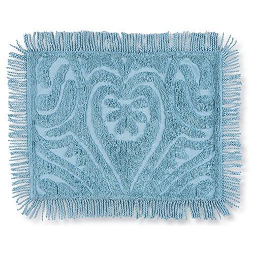 - Collections 100% Cotton Elegant Parkside Plush Scroll Chenille Bed Pillow Sham with Fringe Trim, Cornflower Blue, Sham