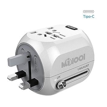 Adaptador Enchufe, Milool Cargador USB + Tipo-C Puertos, Adaptador de Viaje Multiple Universal Enchufe con Dos Seguridad de Fusibles para EEUU, AU, ...