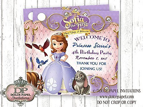 10 Sofia The First Pink and Purple Princess Custom Photo Birthday Party Favor Tags ()