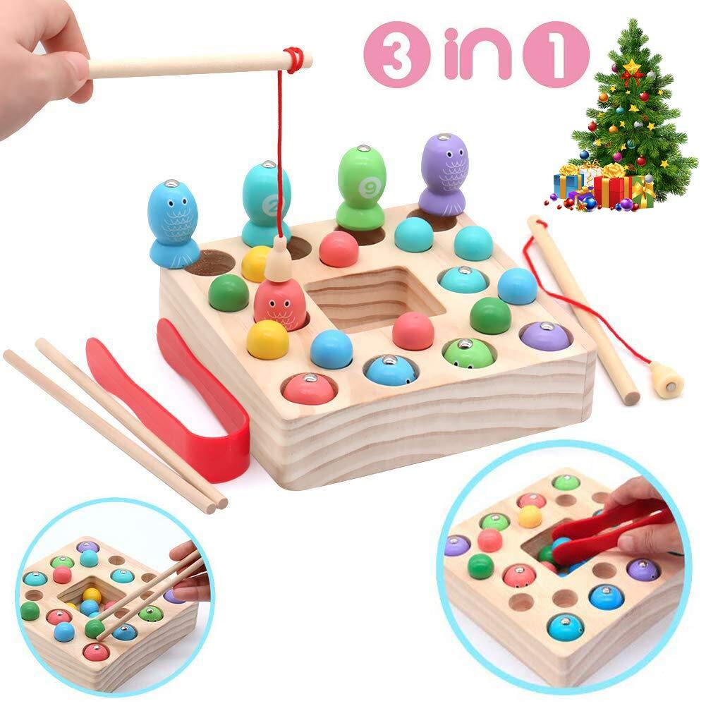 YifKoKo Jouet De P/êche Magn/étique en Bois Jouets Jeu De P/êche Montessori Jouets /Éducatifs Conseil Magn/étique Jouets Cadeau pour Enfants Filles Gar/çons sur 3 Ans