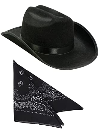 23ce7344496 Amazon.com  Kids Black Cowboy Outlaw Felt Hat And Bandana Play Set Costume  Accessory  Clothing