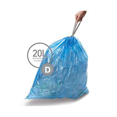 simplehuman code D custom fit recycling liners, 3 refill packs (60 liners), Code D recycling - 20L / 5.2 Gallon, Blue