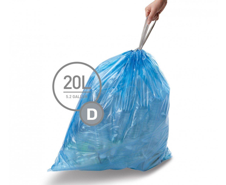 simplehuman Code D Custom Fit Recycling Drawstring Trash Bags, 20 Liter / 5.2 Gallon, 12 Refill Packs (240 Count) - Blue