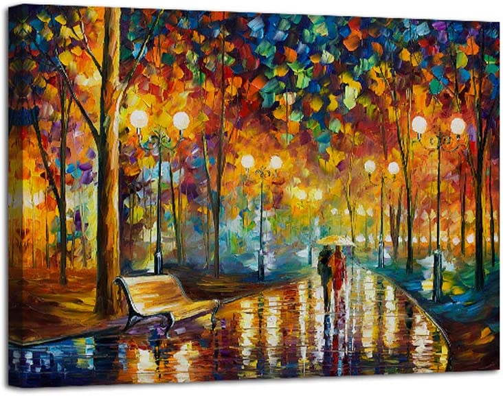 AGCary Romance Under Umbrella Poster with Framed Print Canvas Painting Picture Wall Art for Home Decorations Wall Decor 12 x 16