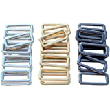 "DGOL 30Pcs 1"" Belt Bag Die Cast Rectangle Ring Buckles Webbing Strap Loops Adjuster Square Buckle in 3 Color"
