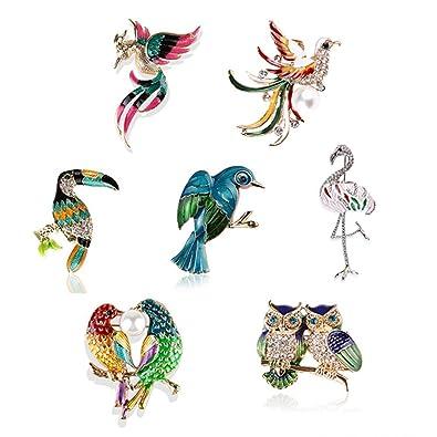 0465f8507d592 Ongwish 7 Pack Vintage Bird Design Rhinestone Brooch Pin, Women Girls Shirt  Collar Animal Brooch Pin New Year Gift Jewelry