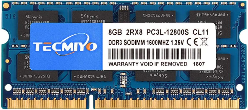 TECMIYO 8GB DDR3 / DDR3L-1600 Sodimm PC3 / PC3L-12800S 8GB, PC3 / PC3L-12800 Non ECC Unbuffered 1.35V/1.5V CL11 2RX8 Dual Rank 204 Pin SODIMM Laptop Notebook Computer Memory Ram Module