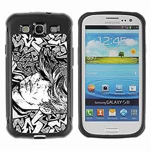A-type Arte & diseño Anti-Slip Shockproof TPU Fundas Cover Cubre Case para Samsung Galaxy S3 III / i9300 / i717 ( Cool Tattoo Illustration )